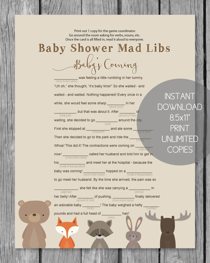 graphic regarding Baby Shower Mad Libs Printable known as Printable Boy or girl Shower Crazy Libs - Woodland Pets Concept - Print It Little one