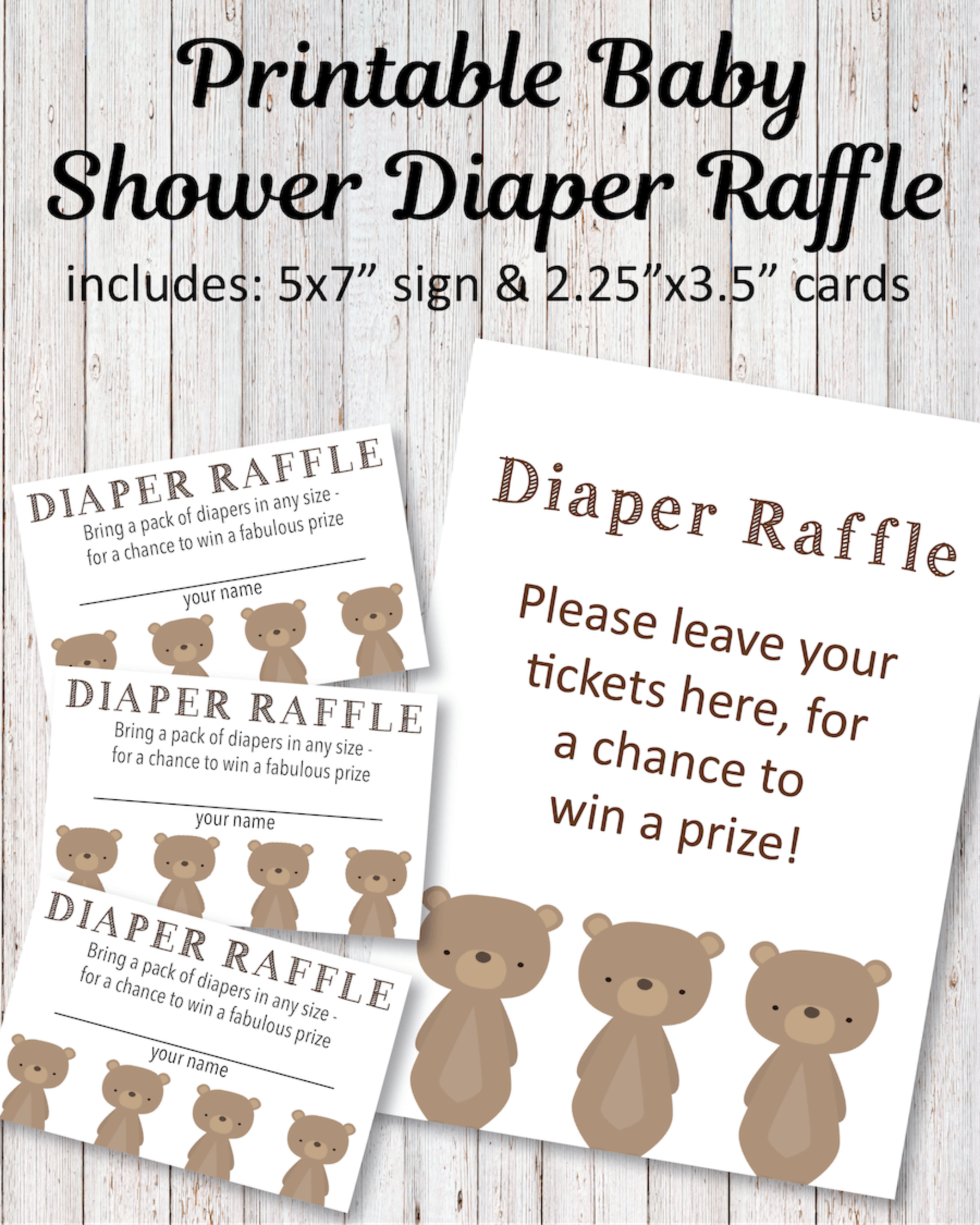 photo about Tickets Printable named Printable Child Shower Diaper Raffle Tickets - Woodland Go through Topic - Print It Kid