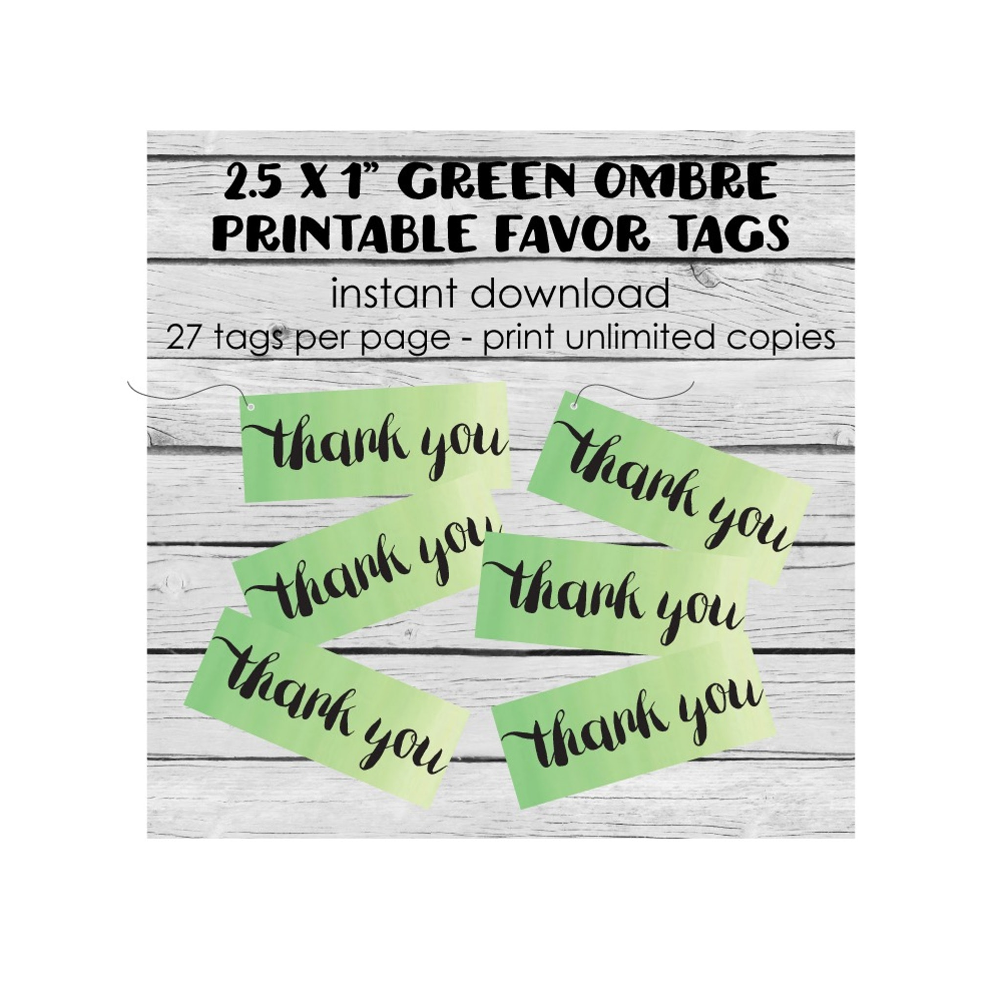 Free Printable Green Ombre Rectangle Thank You Tags