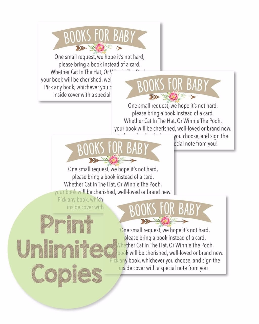 picture about Bring a Book Instead of a Card Printable identified as Printable Boho Arrow Bouquets \