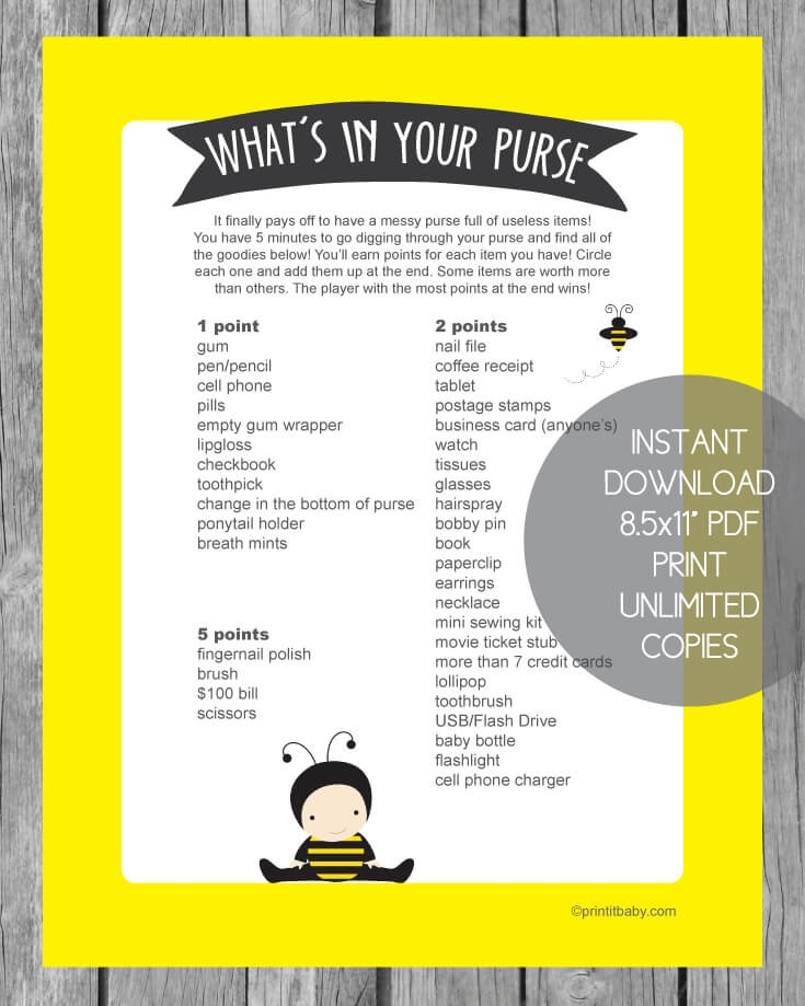photo relating to What's in Your Purse Game Printable named Printable Whats Inside of Your Purse Sport - Yellow Kid Bee Topic