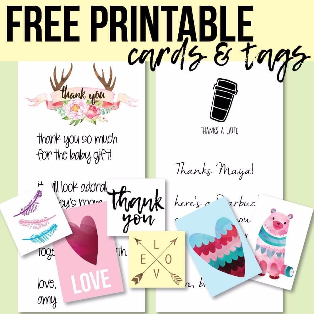 picture about Free Printable Thank You Cards known as Totally free Printable Tags And Thank Yourself Playing cards - Print It Youngster