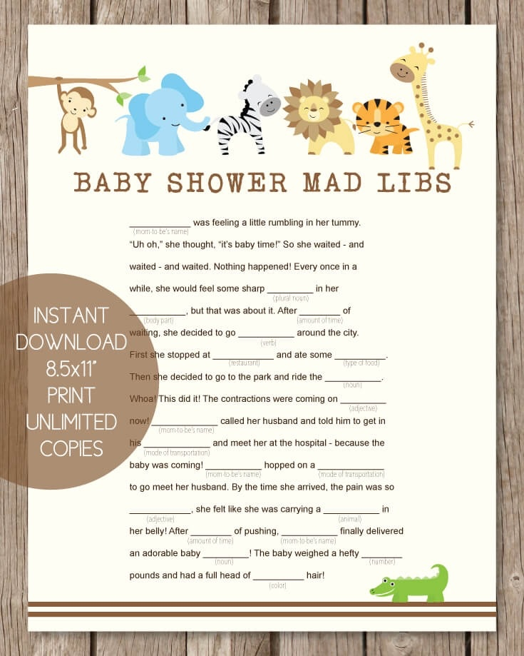 image relating to Baby Shower Mad Libs Printable referred to as Printable Boy or girl Shower Insane Libs - Jungle Concept - Print It Little one