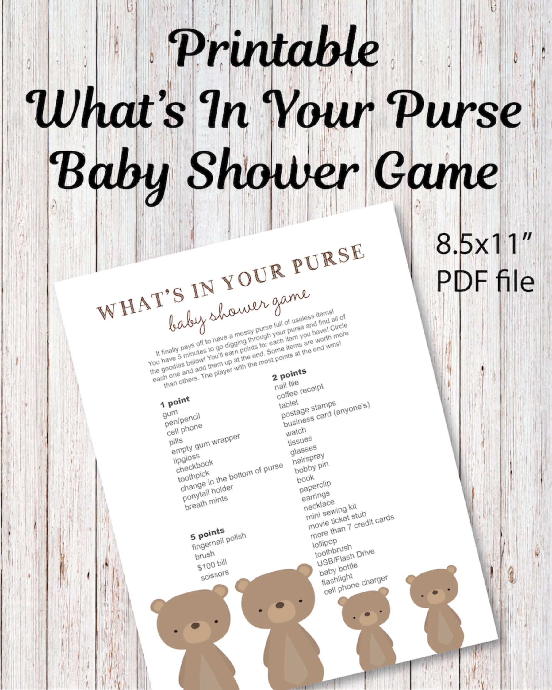 picture about What's in Your Purse Printable named Printable Whats Inside of Your Purse Little one Shower Match - Woodland Endure Little one Shower Concept - Print It Kid