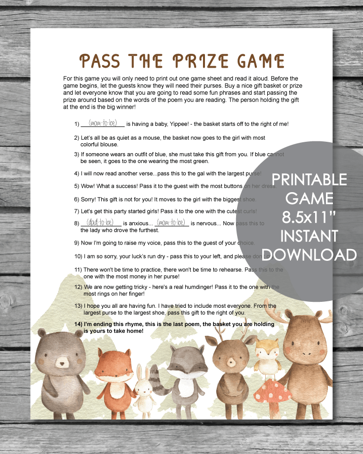 Printable Pass The Prize Baby Shower Game - Woodland Animals