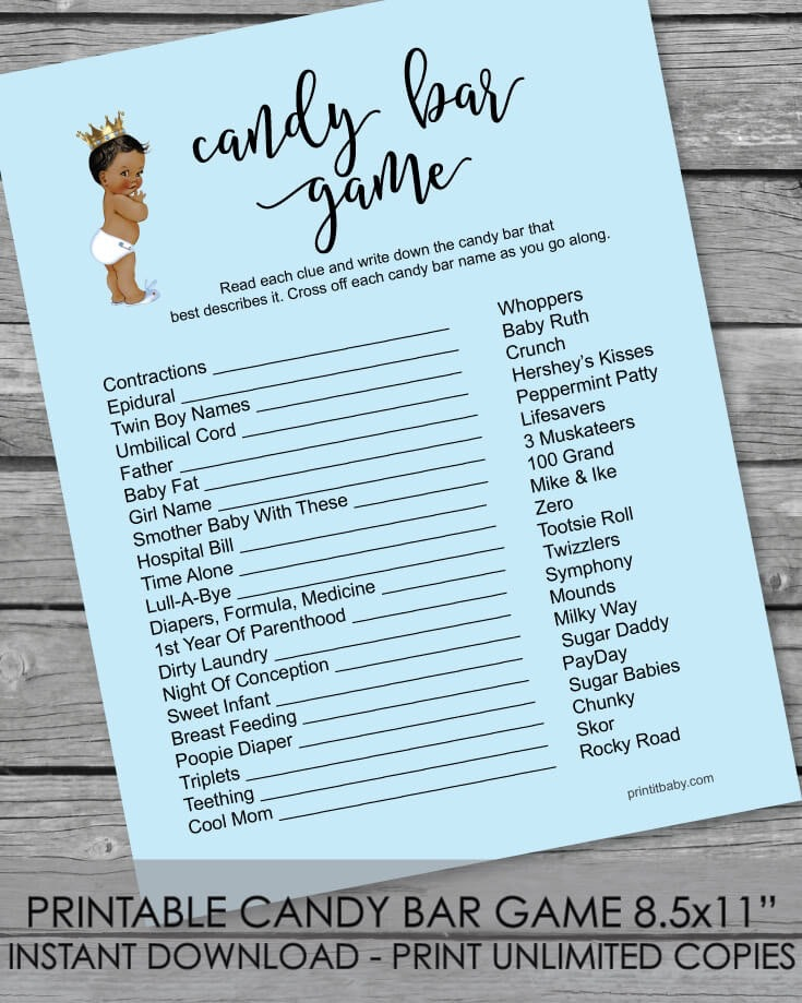Printable Baby Shower Candy Bar Game - African American Baby Boy Blue -  Print It Baby