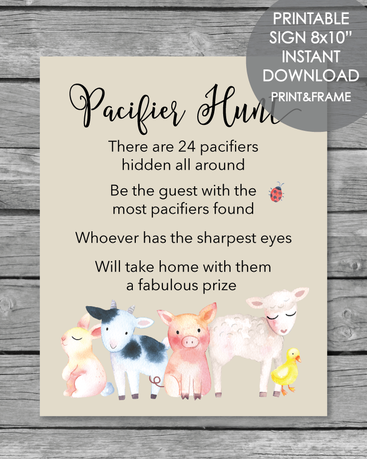 image regarding Printable Farm Animals identified as Printable Pacifier Hunt Youngster Shower Activity Indication - Farm Pets - 8x10\