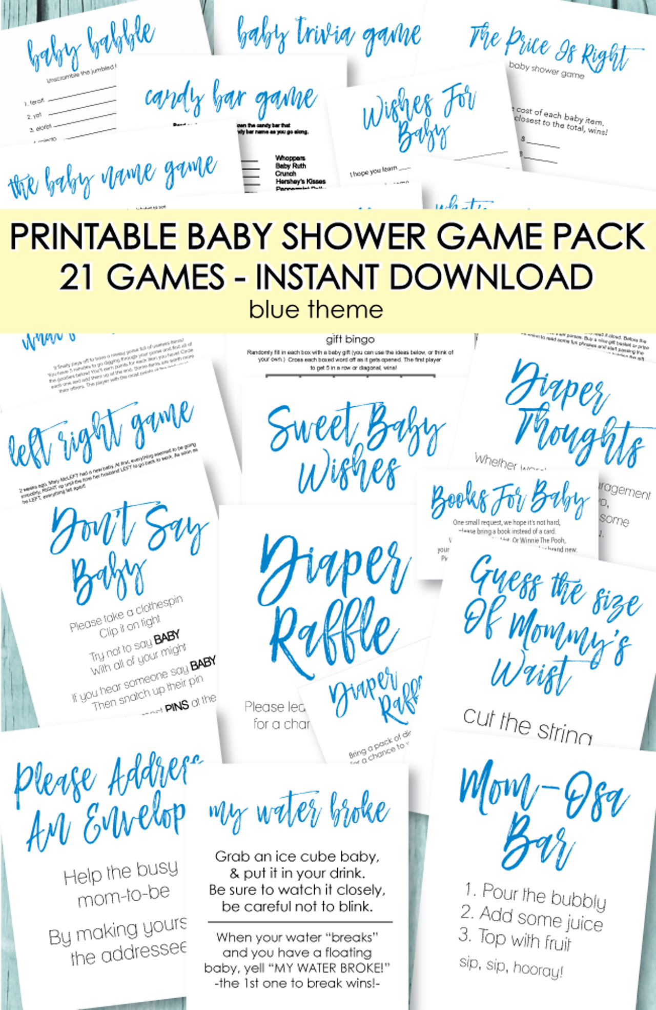 21 Printable Baby Shower Games - Super Game Pack - Blue