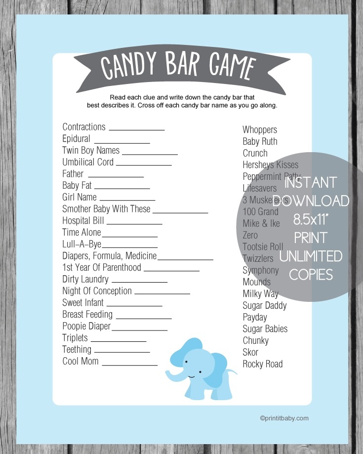 image regarding Candy Bar Game Printable referred to as Printable Blue Elephant Youngster Shower Sweet Bar Video game - Print It Youngster