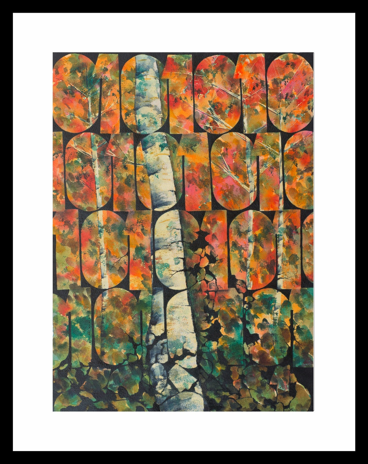Digital Birch Autumn Print