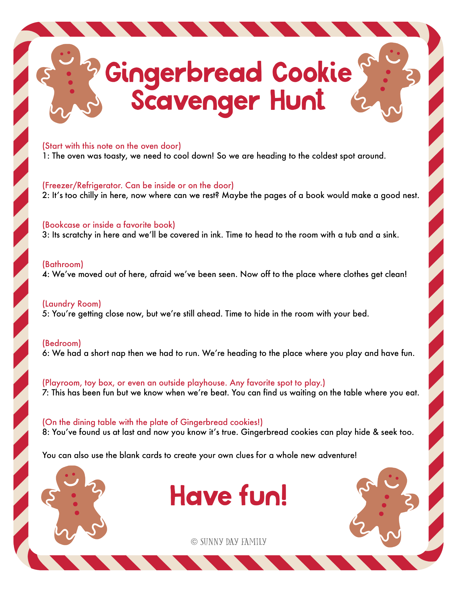 image regarding Christmas Scavenger Hunt Printable Clues identified as Gingerbread Guy Scavenger Hunt - Sunny Working day Relatives