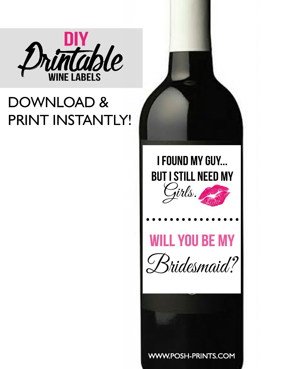 graphic about Printable Wine Label titled Printable Wine Label - Posh Pixel Boutique